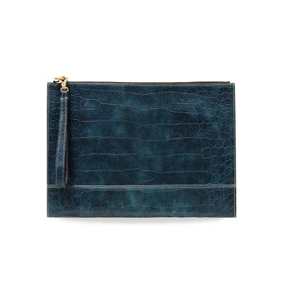 croco embo clutch deep green